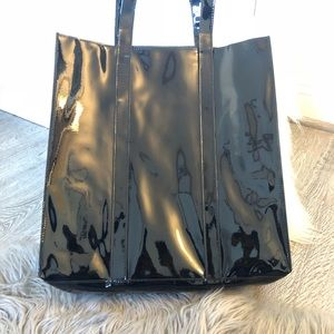 Macy's Glossy Black Patent Leather Tote Shopper
